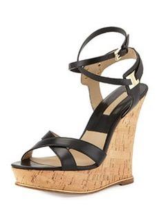 Michael Kors Shana Leather Wedge Sandal, Black