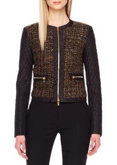 Michael Kors Shimmery Boucle Zip Jacket
