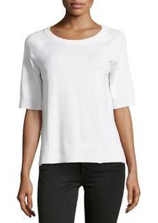 Michael Kors Short-Sleeve Cashmere-Blend Top, White