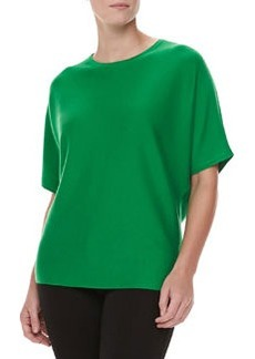 Michael Kors Short-Sleeve Cashmere Top, Palm