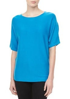 Michael Kors Short-Sleeve Cashmere Top, Pool