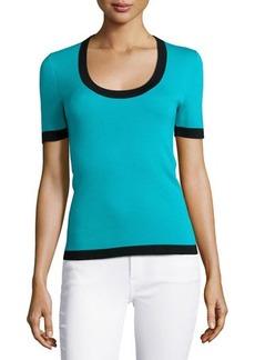 Michael Kors Short-Sleeve Cashmere Top with Contrast Trim, Aqua Multi