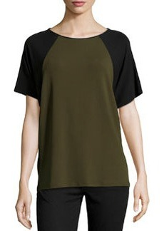 Michael Kors Short-Sleeve Colorblock Top, Olive