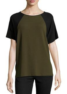 Michael Kors Short-Sleeve Colorblock Top, Olive
