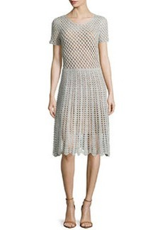 Michael Kors Short-Sleeve Crochet Dress