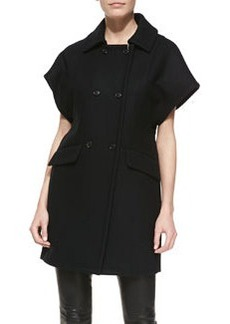 Michael Kors Short-Sleeve Double-Breasted Coat, Black
