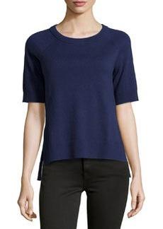 Michael Kors Short-Sleeve High-Low Top, Indigo