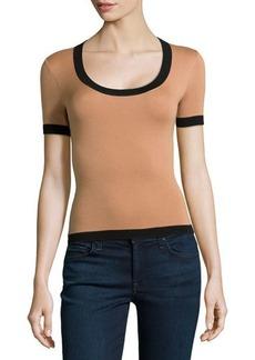 Michael Kors Short-Sleeve Scoop-Neck Top with Contrast Trim, Suntan/Black