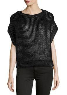 Michael Kors Short-Sleeve Shaker-Knit Popover Sweater, Black