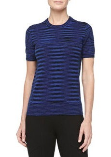 Michael Kors Short-Sleeve Space-dye Cashmere Tee, Sapphire