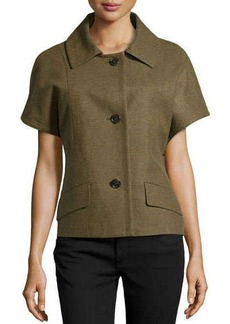 Michael Kors Short-Sleeve Wool-Blend Jacket, Military