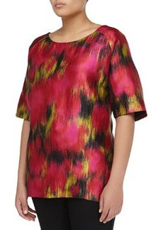 Michael Kors Short-Sleeve Zinnia-Print Scoop Satin Tunic, Rose/Leaf/Black