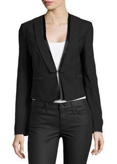 Michael Kors Short Tuxedo Jacket, Black
