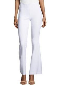 Michael Kors Side-Zip Silk Flared Trousers, Optic White