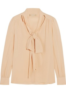 Michael Kors Silk-georgette pussy-bow blouse