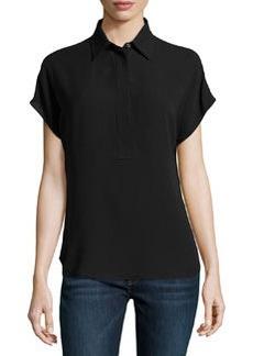 Michael Kors Silk Georgette Short-Sleeve Popover Blouse, Black