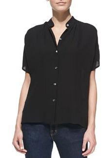 Michael Kors Silk Georgette Short-Sleeve Shirt, Black
