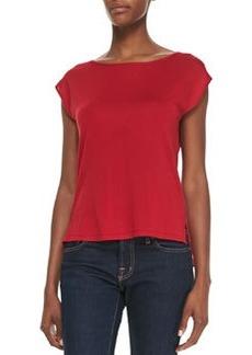 Michael Kors Silk High-Low Top, Crimson