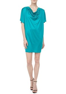 Michael Kors Silk Jersey Draped Dress, Turquoise