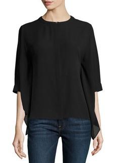 Michael Kors Silk Kimono Blouse, Black