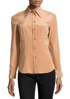 Michael Kors Silk Long-Sleeve Button-Front Shirt, Suntan