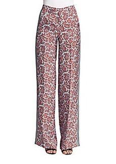 Michael Kors Silk Paisley-Print Pants