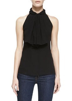Michael Kors Silk Ruffle-Front Halter Top, Black