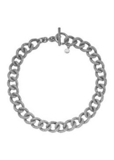 Michael Kors Silvertone Pave Curb-Link Toggle Necklace