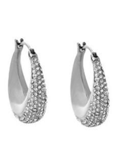 Michael Kors Silvertone Pave Hoop Earrings