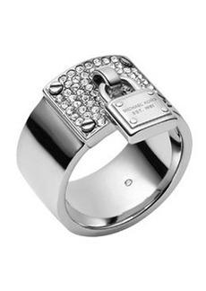 Michael Kors Silvertone Pave Padlock Ring
