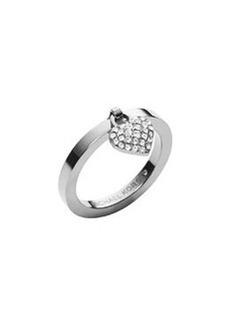 Michael Kors Silvertone Pave Puffy Heart Charm Ring