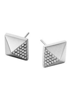 Michael Kors Silvertone Pave Pyramid Earrings