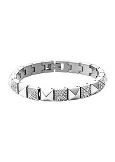 Michael Kors Silvertone/Pave Pyramid Tennis Bracelet
