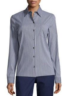 Michael Kors Skinny-Striped Button-Front Classic Shirt