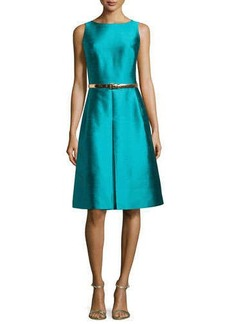 Michael Kors Sleeveless A-Line Dress with Belt, Aqua