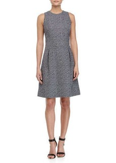 Michael Kors Sleeveless Bell-Skirt Dress, Indigo/White