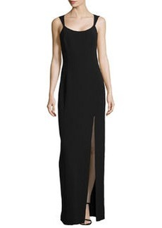Michael Kors Sleeveless Column Tank Slit-Front Gown, Black