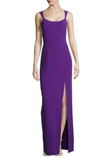 Michael Kors Sleeveless Column Tank Slit-Front Gown, Grape