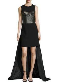 Michael Kors Sleeveless Leather Bustier Parachute Gown