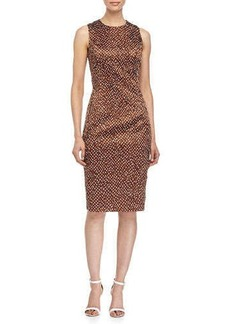 Michael Kors Sleeveless Mini-Dot Print Sheath Dress, Nutmeg/White