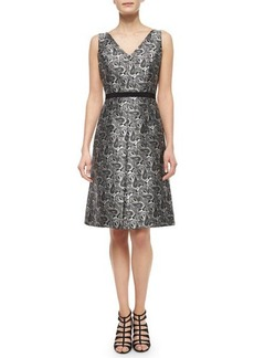 Michael Kors Sleeveless Paisley-Print Dress, Black/White