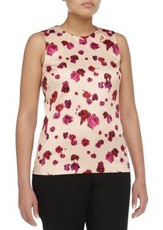 Michael Kors Sleeveless Pansy-Print Silk Top, Rose/Nude