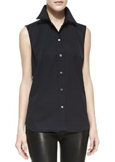 Michael Kors Sleeveless Poplin Shirt, Black