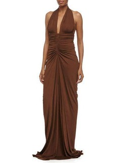 Michael Kors Sleeveless Ruched Gown, Nutmeg