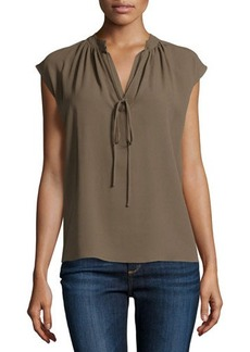 Michael Kors Sleeveless Split-Neck Peasant Top