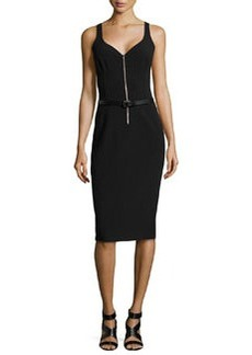 Michael Kors Sleeveless Sweetheart Belted Sheath Dress