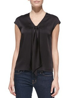 Michael Kors Sleeveless Tie-Front Charmeuse Top, Black