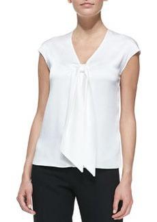 Michael Kors Sleeveless Tie-Front Charmeuse Top, Optic White