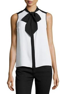 Michael Kors Sleeveless Tie-Neck Blouse