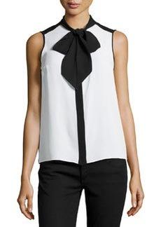 Michael Kors Sleeveless Tie-Neck Blouse